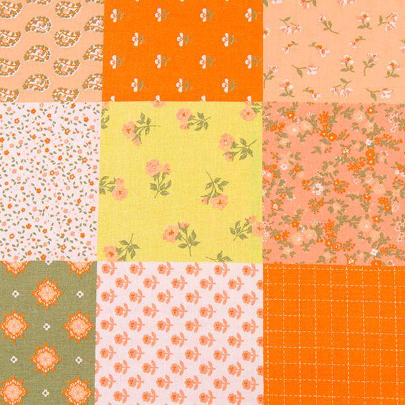 Bavlněná látka Jasně oranžovozelený patchwork