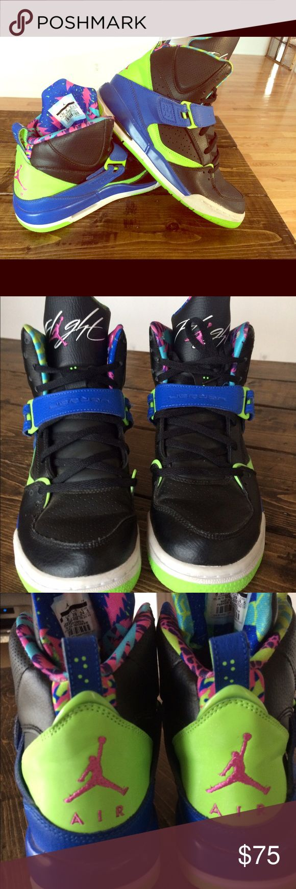 Bel Air Flight Jordan's Retro 90s Geometric Shoes Funky Bel Air Jordan's with neon colors and geometrical shapes. Has some creases on the toes as seen in picture. Sz 6.5Y/M, 8W, or 39 EU Jordan Shoes Athletic Shoes