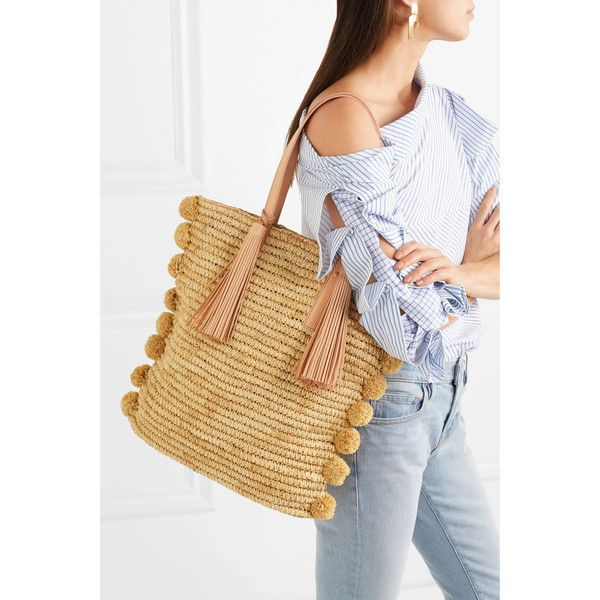 Loeffler Randall Cruise pompom-embellished leather-trimmed straw tote ($550) ❤ liked on Polyvore featuring bags, handbags, tote bags, beach tote, woven tote bags, tote handbags, woven beach tote and straw tote beach bag