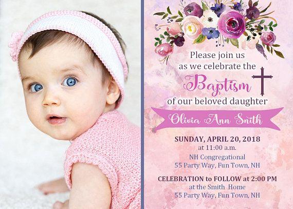 Christening Invitation Girl Flowers Elegant Baptism