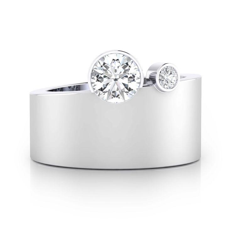 Engagement Rings Hobart: Anillos De Compromiso De Oro Blanco De 18k Con 2 Diamantes