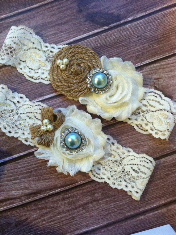 Garter/ BURLAP wedding garter / bridal  garter/  lace garter /something blue / barn rustic wedding garter / vintage inspired lace garter via Etsy