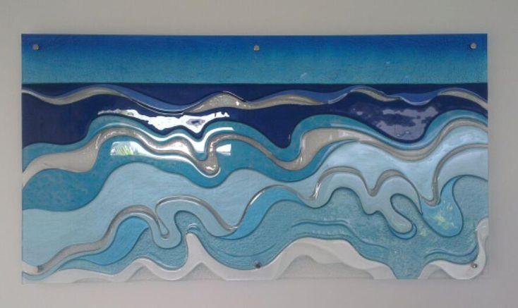Waves slumped wall art - Voodoo Glass, Molendinar - http://www.voodooglass.com.au
