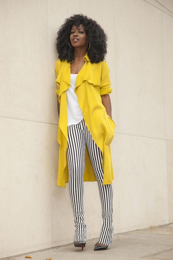 Trench Coat + Tank + Stripped Pants