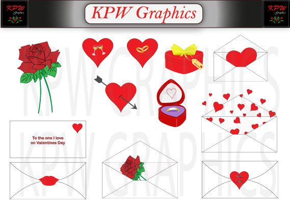 Valentine Clipart Set in PNG 300ppi format. by KPWgraphics on Etsy