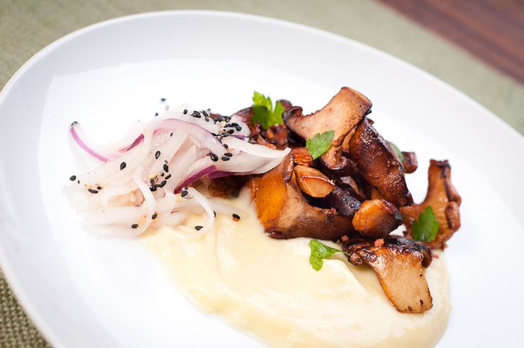 Chanterelle Mushrooms with a Corn Sauce and Asian Pear Slaw – Recipe