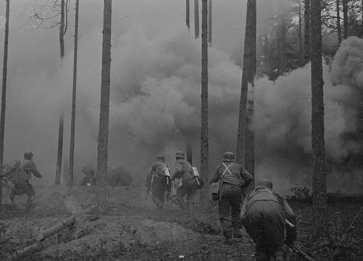 Pioneers destroying obstacles and attacking bunkers with flamethrowers, while being supported by artillery. Hanko Front, Swedish Volunteers Battalion. 1941.08.29