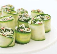 Zucchini Ribbon Pinwheels                                                 Using high-quality prepared foods like frozen chopped spinach and roasted peppers makes these appetizers easy to prepare.