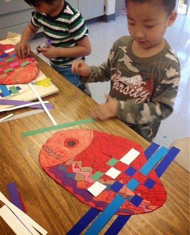 Mrs. Knight's Smartest Artists: Kindergarten lately... Kindergarten fish weavings - so cute!