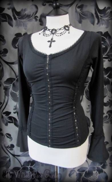 Romantic Gothic Slinky Black Lace Trim Corset Look Fitted Top 10 12 Goth Maiden | THE WILTED ROSE GARDEN on eBay // Worldwide Shipping Available