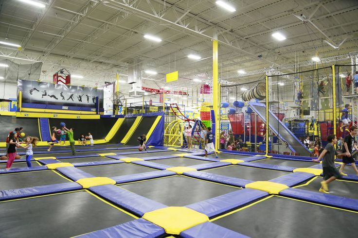 An Incredible Over 6 000 Square Foot Indoor Trampoline Park Including 3 Basketball Hoops To Dunk The Ball Also Trampoline Park Trampoline Indoor Trampoline