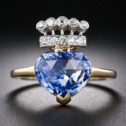 4.60 Carat Kashmir Sapphire and Diamond Ring -   Lang Antiques