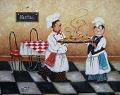 Pasta Chefs Print, fat chefs, chef paintings, prints, chef art, kitchen decor, cafe, paris, food, vegetables, bistro