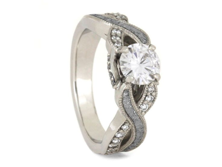 Forever One Moissanite Engagement Ring With Diamond Accent, Meteorite Ring in 10k White Gold, Celestial Jewelry by jewelrybyjohan on Etsy https://www.etsy.com/listing/462353134/forever-one-moissanite-engagement-ring
