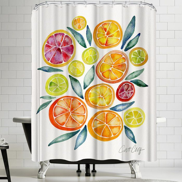 Citrus Slices Single Shower Curtain Shower Curtain Shower Curtains