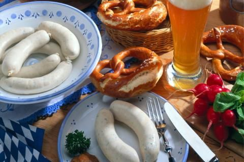 The Weisswurst Fruehstueck (white sausage breakfast) is a tradition in Bavaria. Always served with a nice, cool Weissbier.