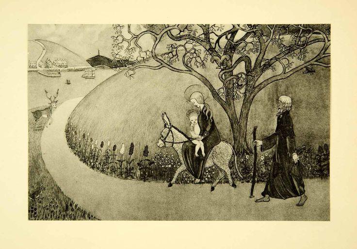 1931 Collotype Mary Jesus Virgin Joan Manning-Sanders Donkey Flight Egypt