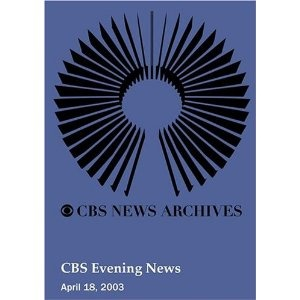 CBS Evening News (April 18, 2003). THE SEVEN FORMER POW'S WHO WERE PRISONERS OF WAR RESCUED FROM IRAQ  WILL BE HEADING HOME. . . . ANGRY UNION MEMBERS PROTEST AMERICAN AIRLINES' PAY-CUT PROPOSAL ON NEWS OF PROPOSED SALARY BONUSES FOR EXECUTIVES. . . . SCAMMERS USING THE WAR IN IRAQ TO PREY ON YOUR EMOTIONS AND RAID YOUR WALLET. . . . CURRENT STATE OF BAGHDAD HAS NEWBORNS OFF TO A BAD START. POLICE LIEUTENANT COMES OUT OF RETIREMENT TO HELP. FIREFIGHTERS WASH DUST OFF MOSQUE. . . . HUSBAND OF…