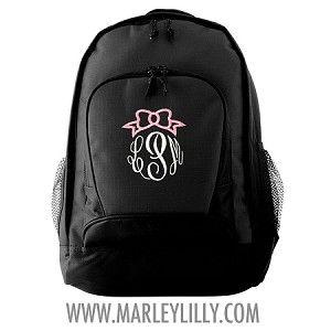 *LIMITED EDITION* Monogrammed Bow Basic Black Backpack