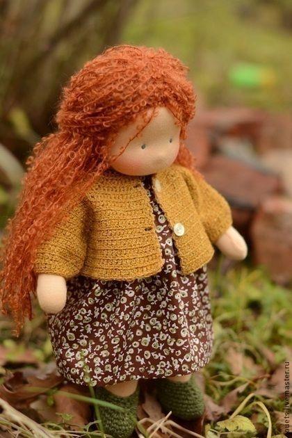 Купить Белочка, 36см - рыжий, вальдорфская кукла, вальдорфская игрушка, детская кукла, кукла для игры