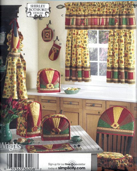 Superieur KITCHEN APPLIANCE COVERS Sewing Pattern   Oven Mitt Pot Holder Curtains  Place Mats U0026 More