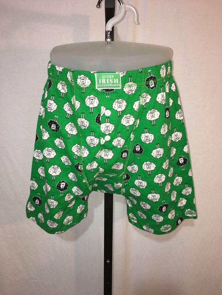 Lucky Irish Boxer Shorts Sheep Green Ireland St Patricks Day 100% Cotton XL NWT #TraditionalCraftLTD #BoxerBrief