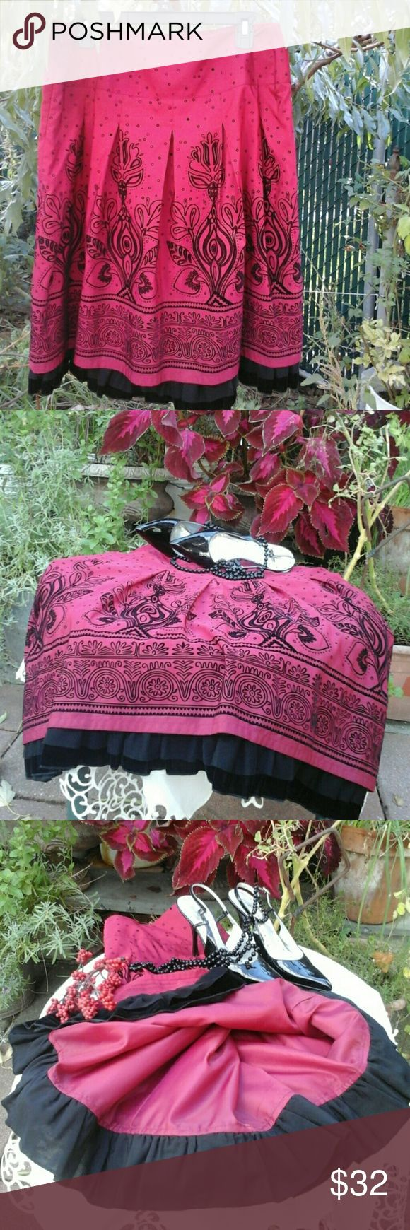 """Beautiful Embroidery Pleated Skirt! Like new, worn once, excellent condition,  gorgeous lining with velvet/mesh like ruffles at end. Side zip, 100%polyester /100% nylon lining,  laying flat: 37"""", length  25"""". Get ready for the holiday! Apt. 9 Skirts Midi"""