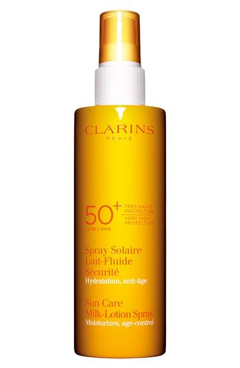 Clarins Sun Care Milk-Lotion Spray SPF 50+ available at #Nordstrom - just the best.  Add to the self-tanning creme.