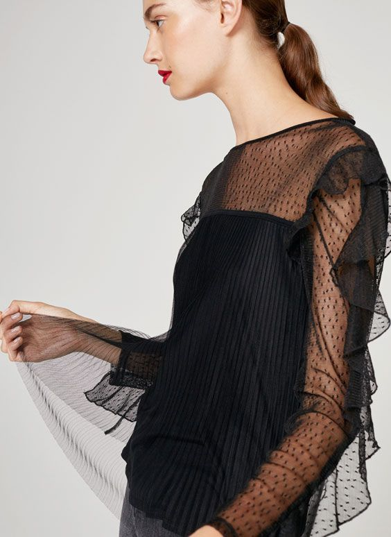 Uterqüe United Kingdom Product Page - New in - View all - Ruffled lace T-shirt - 55