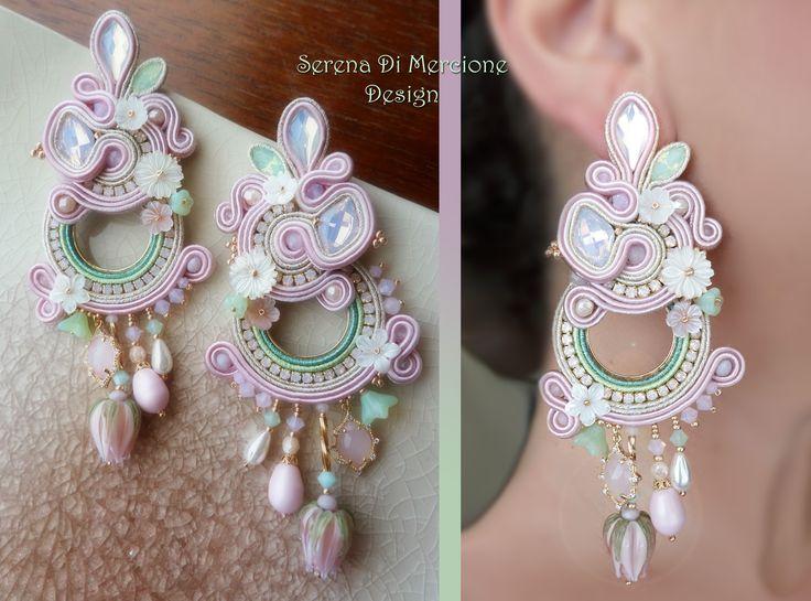 Soutache Earrings by Serena Di Mercione (Swarovski, mother-pearl flowers, lampwork flowers)