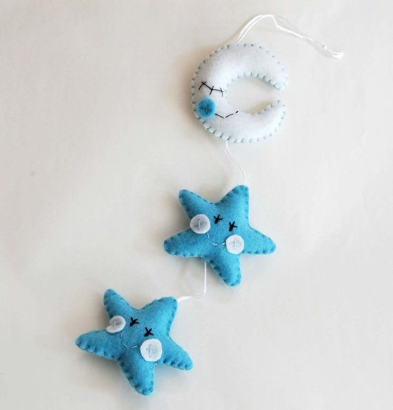 Felt star decoration for birth baby boy crib by federicacreazioni, €20.00