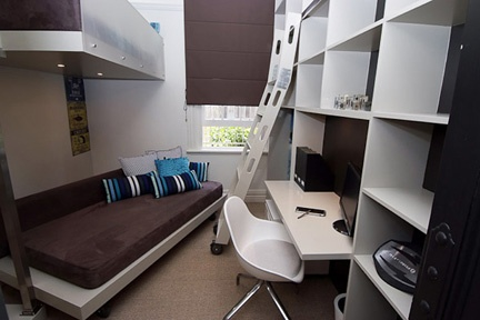 This teenage boy's room is a fully-customised haven for sleeping, studying or lounging with friends.