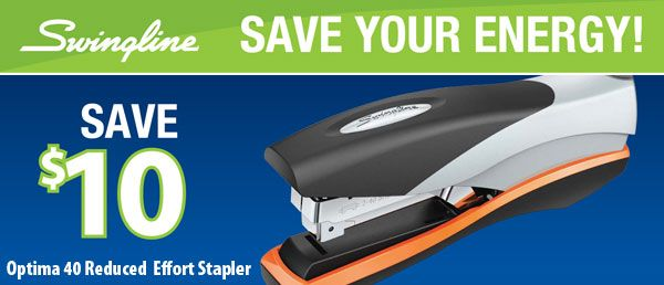 #Save $10 when you purchase a Swingline Optima 40 Stapler. Offer valid until August 31, 2013.