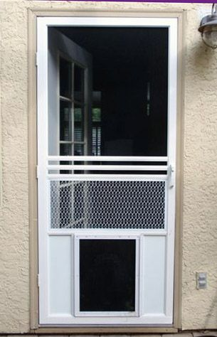 Screen Doors with Dog Door | The Screen Guys | Mobile screening for window and door screens ...