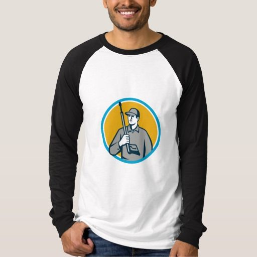 Power Washer Pressure Washing Gun Circle Retro T Shirt. Illustration of power washer worker holding pressure washing gun on shoulder looking to the side viewed from front set inside circle on isolated background done in retro style. #Illustration #PowerWasherPressureWashingGun