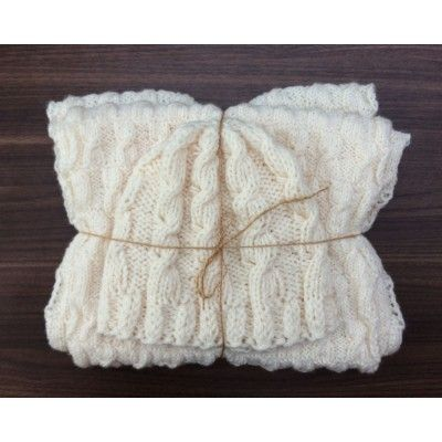 Hand-Knitted Set Cap&Infinity Scarf - Off-White