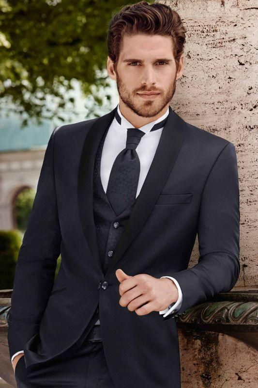 Mens wedding suits for men navy blue grooms tuxedos black for Black tuxedo shirt for men