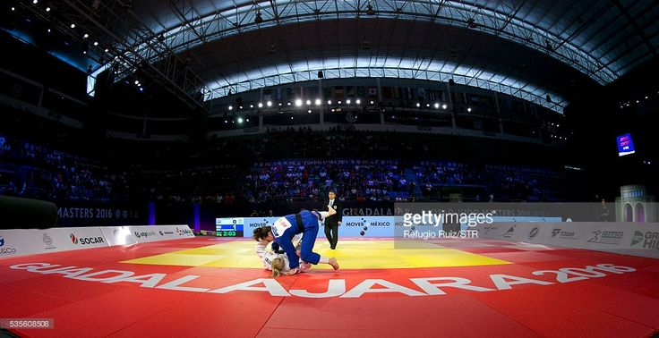 Guusje Steenhuis (white) of Netherlands fights with Gemma Gibbons (blue) of England during the women's -78kg fight as part of the World Judo Masters Guadalajara 2016 at Adolfo Lopez Mateos Sports Centre on May 29, 2016 in Gudalajara, Mexico.