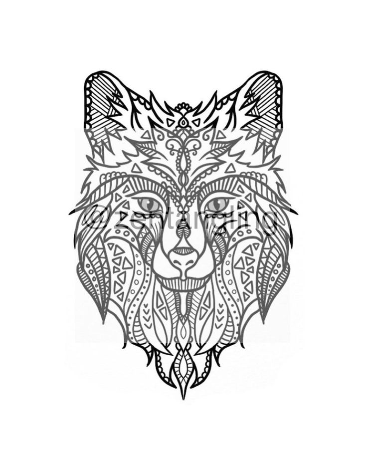 New to ZenTangling on Etsy: Wild Wolf Zentangle (1.97 AUD)