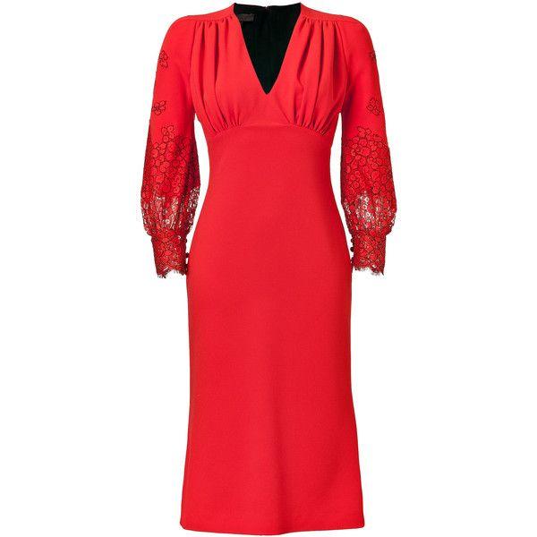 L'WREN SCOTT Lace Trim Dress in Red (40.895 RUB) found on Polyvore