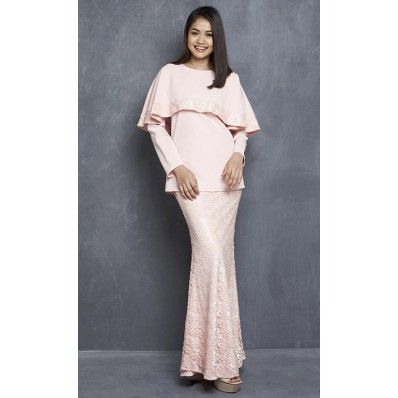 Linda Modern Kurung with Lace Cape in Pink