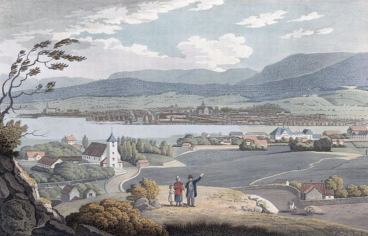 """City of Christiania (JW Edy plate 49). English: """"City of Christiania"""" Norsk bokmål: «Staden Christiania» Drawing by John William Edy (1760-1820) from his journey along the coast of Norway during the summer of 1800. Published in Boydell's picturesque scenery of Norway in 1820."""
