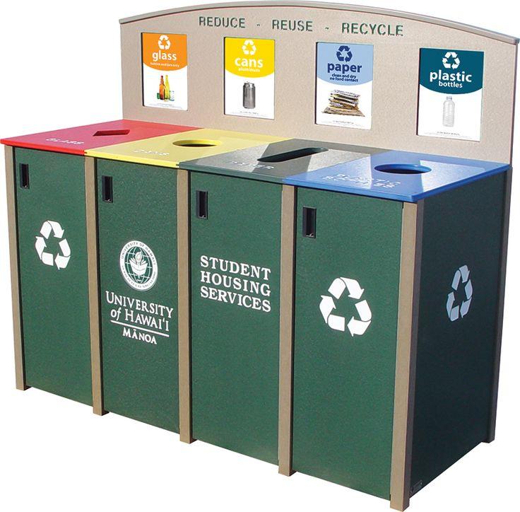 Quad 23 Gallon Slim Jim Brunswick Recycling Station
