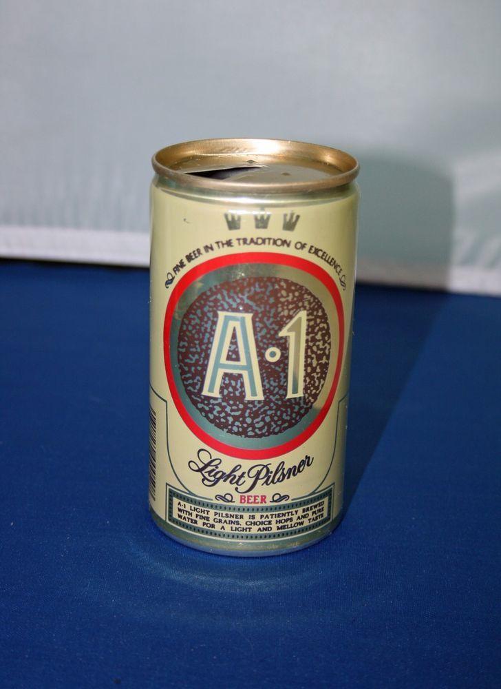 A 1 Pilsner Beer Aluminum Beer Can Pull Tab Opened Carling National Empty #A1LightPilsnerBeer
