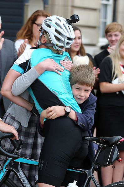 Sophie, Countess of Wessex is greeted by her children Lady Louise Windsor and James Viscount Severn as she rode into Buckingham Palace after completing the Diamond Challenge on September 25, 2016 in London, United Kingdom.