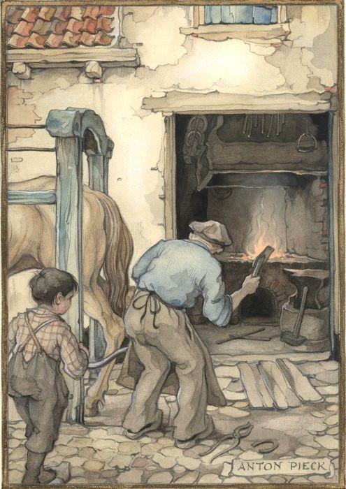 De Paardenhoefsmid - gesigneerde aquarel  - 1947  formaat papier: 15,6 x 21,5 cm Date: '21-12-47'