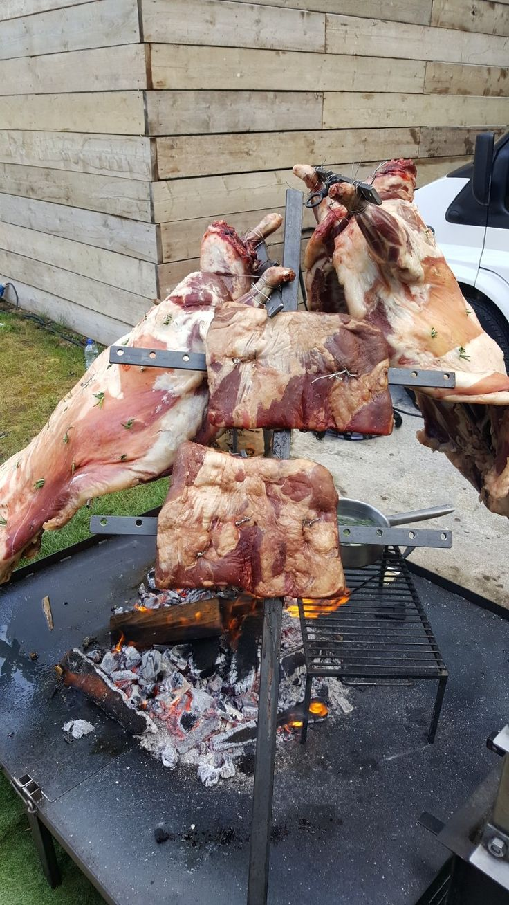 Fabulous BBQ are always looking for new ways to wow guests at events. Here we have 2 whole lambs and beef ribs cooking over British cherry wood. If you are looking for inspiration for your next event visit www.fabulousbbq.co.uk