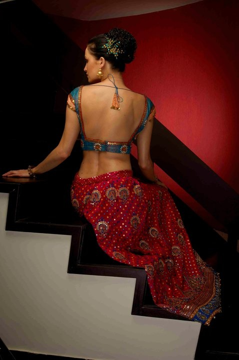Lehenga & Backless Choli Blouse from  http://www.shyamalbhumika.com/