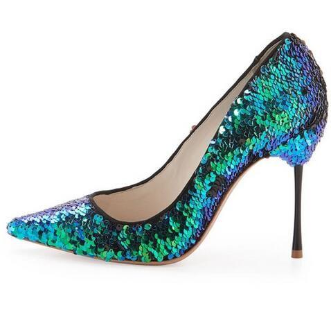 Moda 2016 blu paillettes scarpe a punta pompe così bella kate  Pompe 10 cm sconto inferiori rossi tacchi alti per le donne di nozze  Scarpe(China (Mainland))
