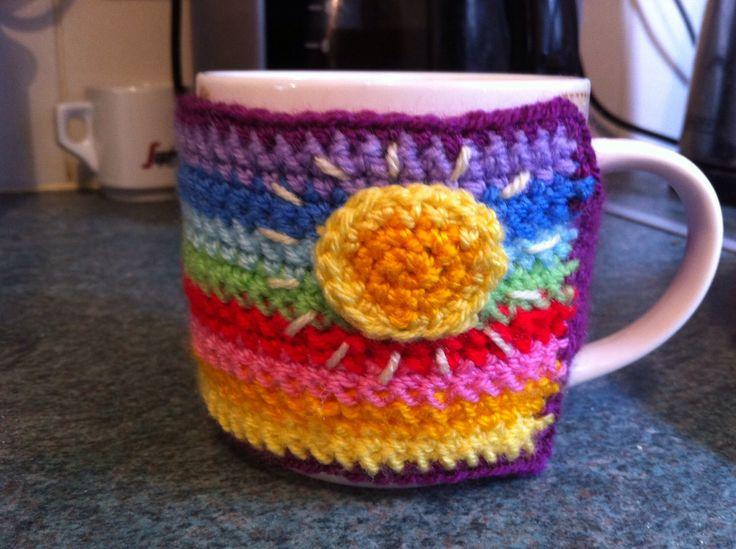 A personal favourite from my Etsy shop https://www.etsy.com/listing/163683000/multicoloured-mug-cosy
